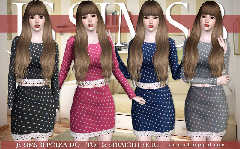 Polka Dot Top & Straight Skirt by JS SIMS