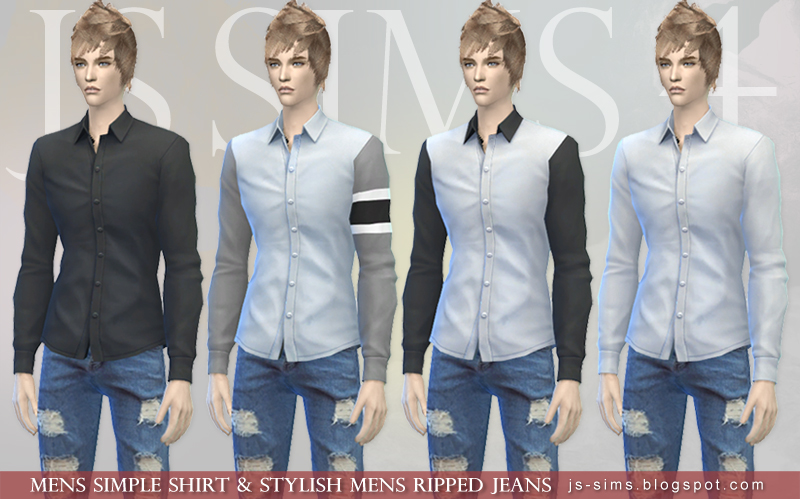 Mens Simple Shirt & Stylish Mens Ripped Jeans by JS Sims 4