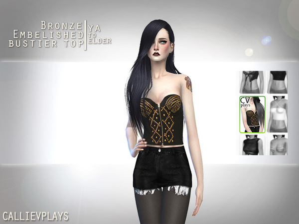 Bustier Top with Bronze Embelishments by Callie V