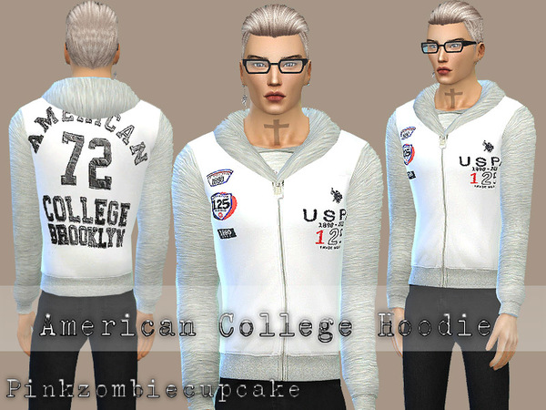 American College Hoodie by Pinkzombiecupcakes