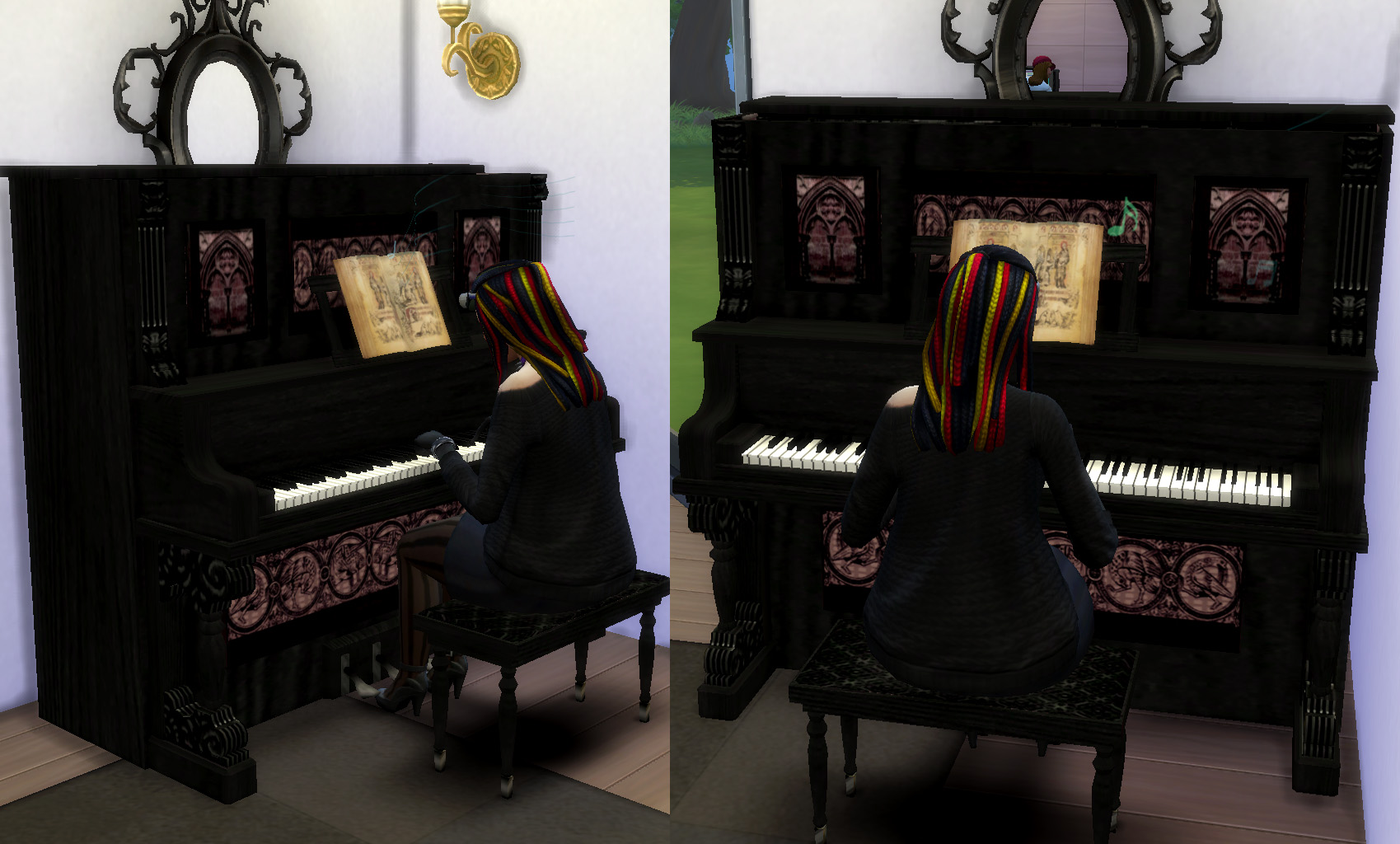 The Sims 2 Upright Saloon Piano by Esmeralda