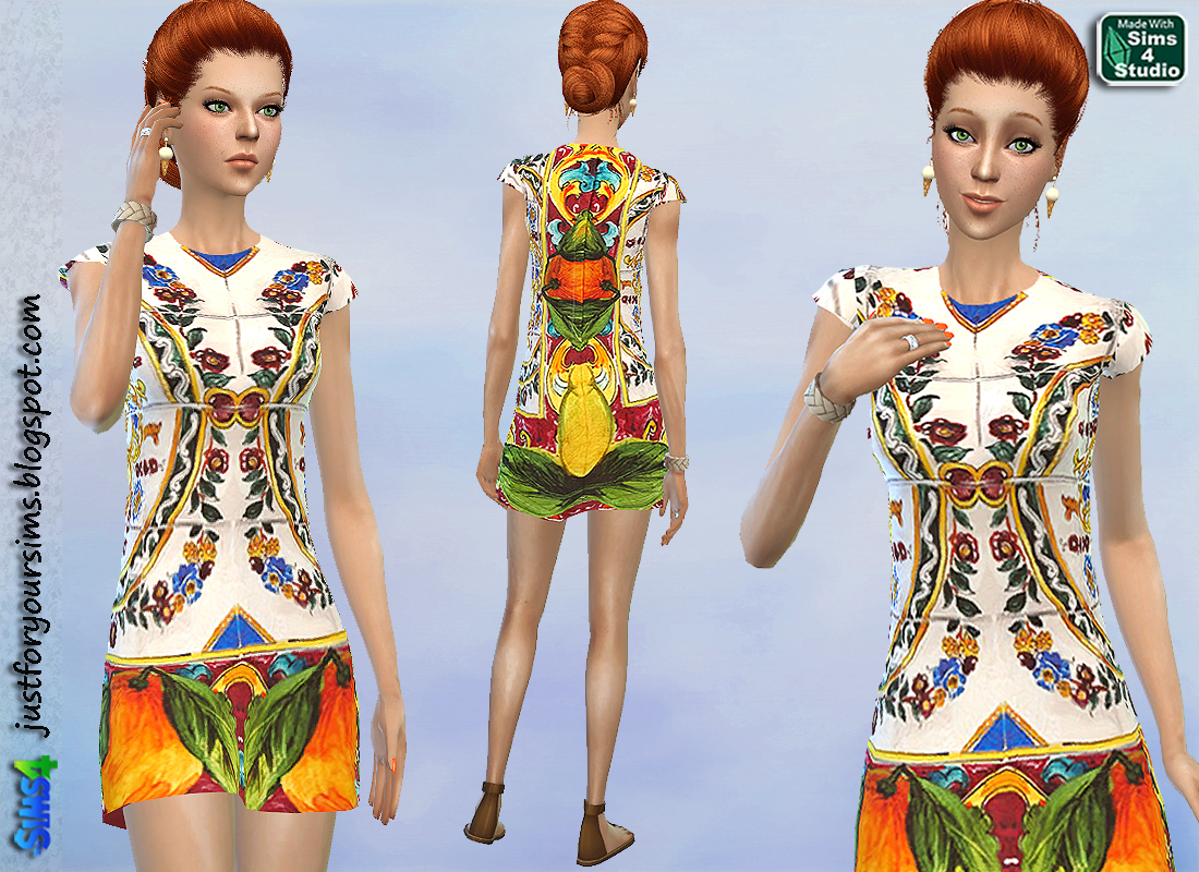 D&G Tile Print Dress by Just For Your Sims