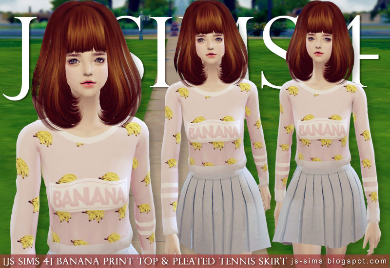 Banana Print Top and Pleated Tennis Skirt for Teen & Adult Females by JS Sims 4