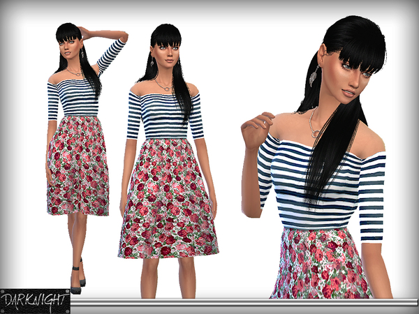 Striped Dress with Floral Bell Skirt by DarkNighTt