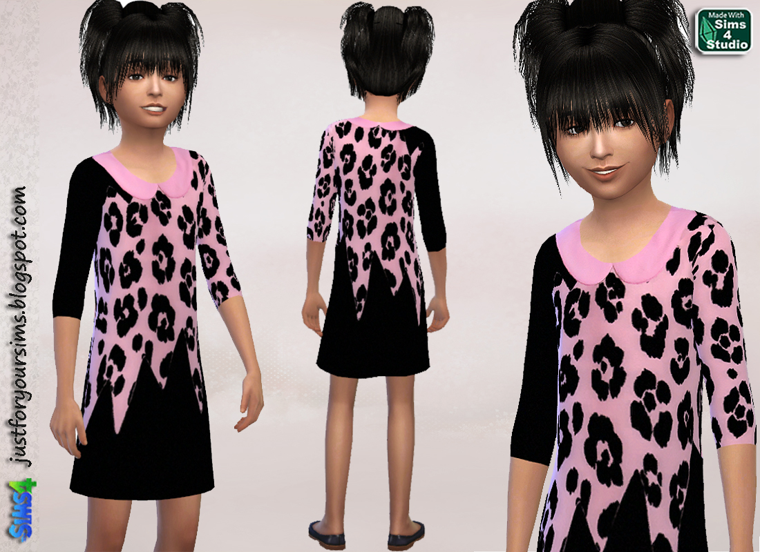 Moschino Black and Pink Leopard Dress by Just For Your Sims