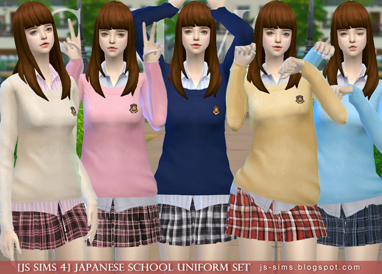 Japanese School Uniform Set by JS Sims 4