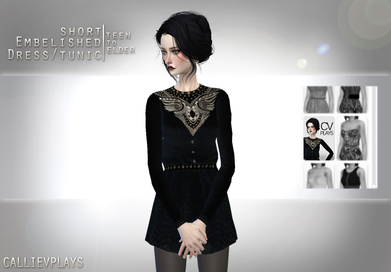 Embellished Tunic Dress for Teen - Elder Females by CallieVPlays