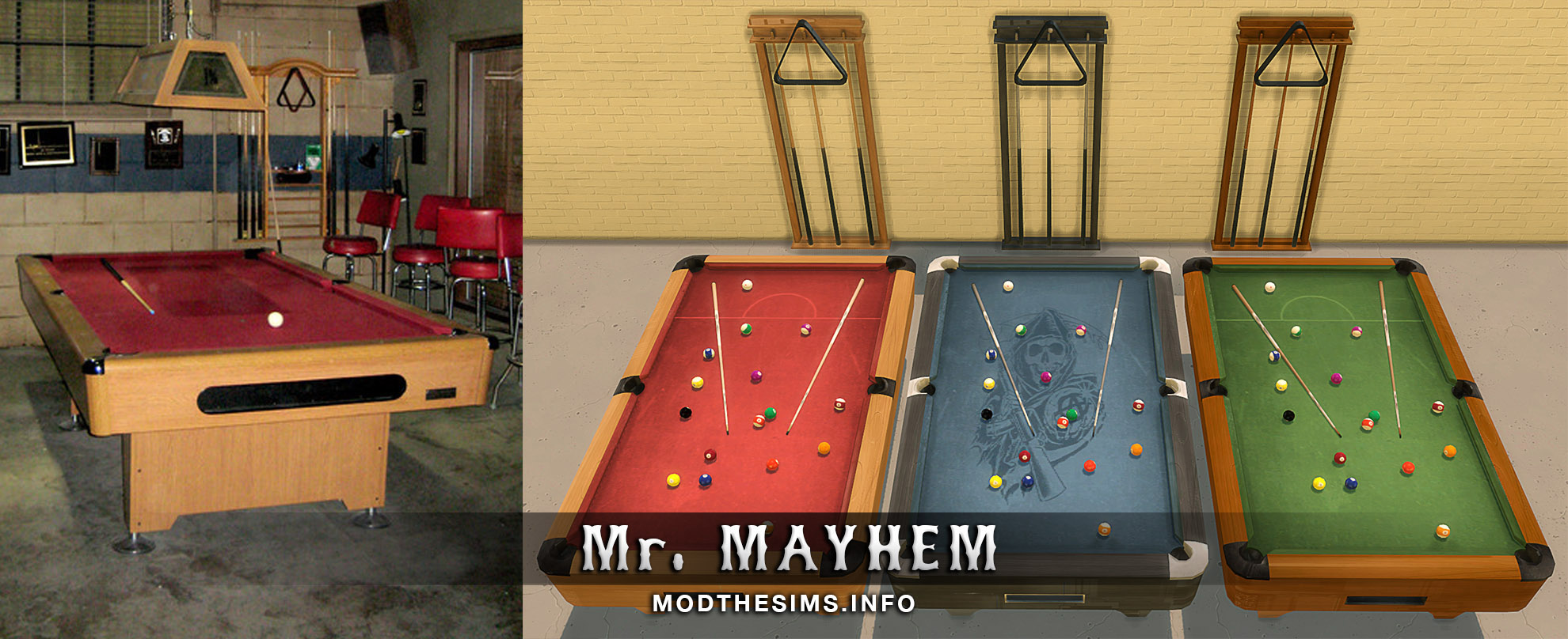 Clubhouse Pool Table & Cue Rack by Mr. Mayhem