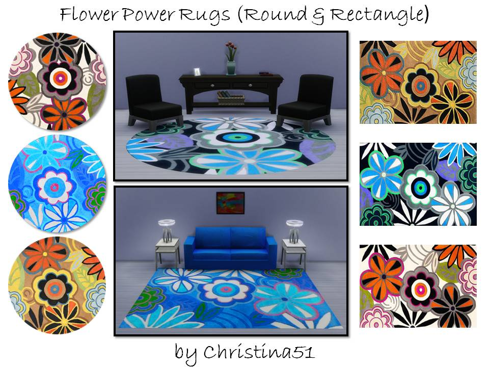 Flower Power Rugs Set (Round & Rectangle) by Christina51