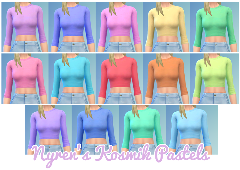 SynthSims Cropped Skin Tight Tees Recolors by SimBlob
