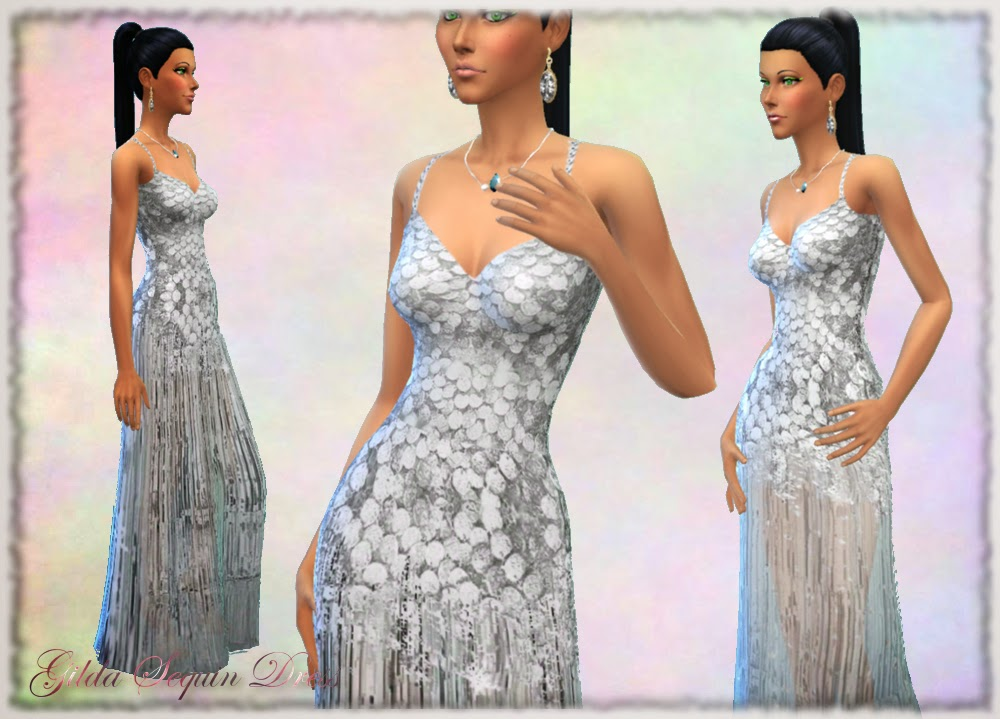 Gilda Silver Sequin Dress by Mythical Dream Sims 4