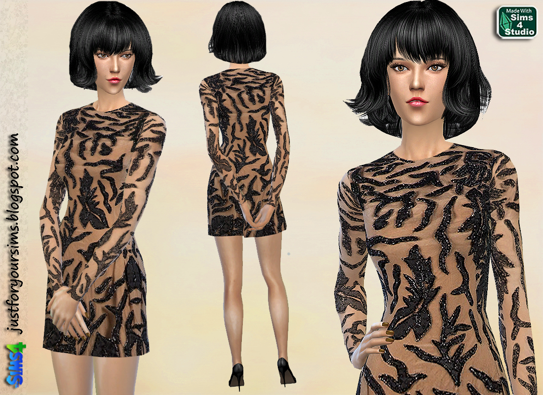 Black Embroidered Mini Dress by Just For Your Sims