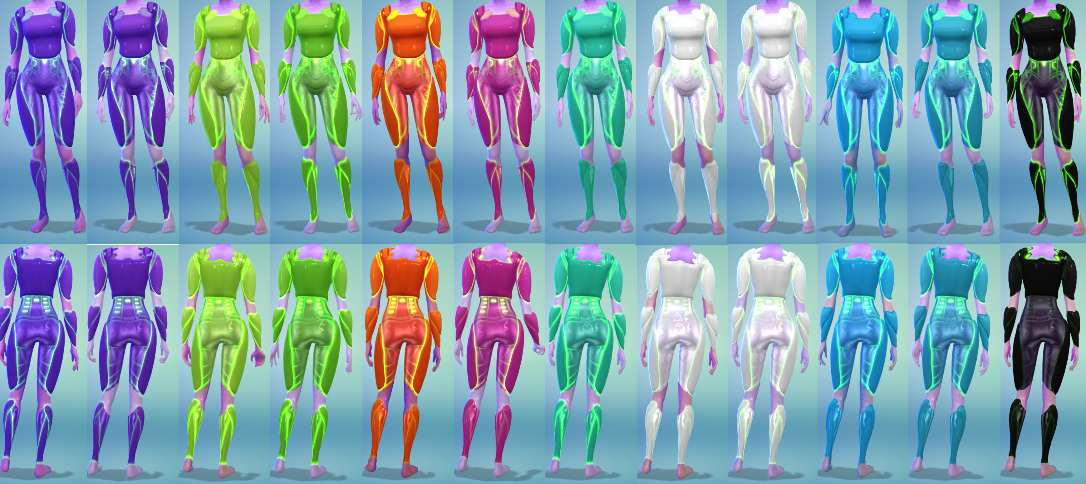 12 Female Alien Armor Recolors by The Simsperience