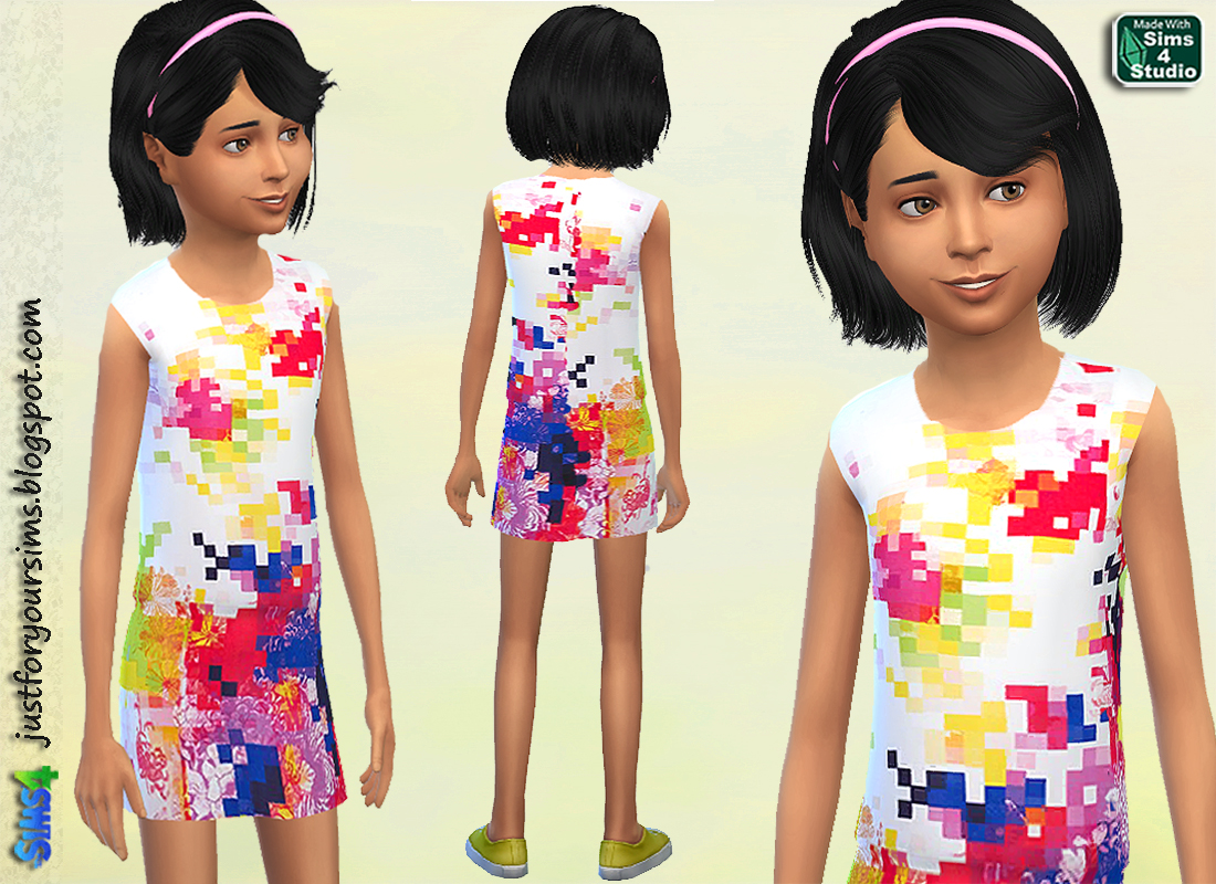 Pixellated Print Dress by Just For Your Sims