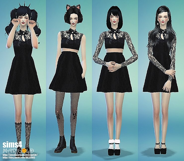 Ribbon lace black dress by Marigold