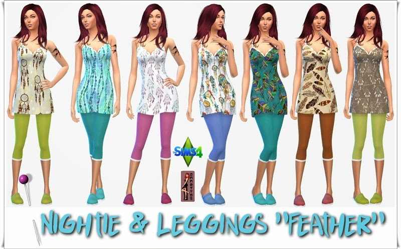 "Nightie & Leggings & Slipper ""Feather"" by Annett85"