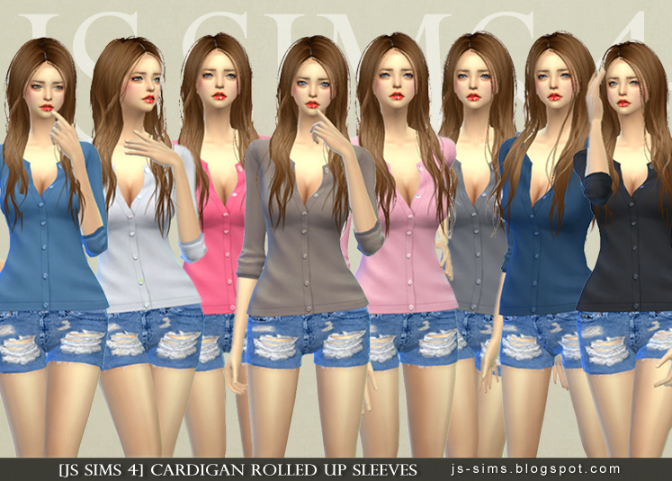 Cardigan with Rolled Up Sleeves for Teen - Elder Females by JS Sims 4