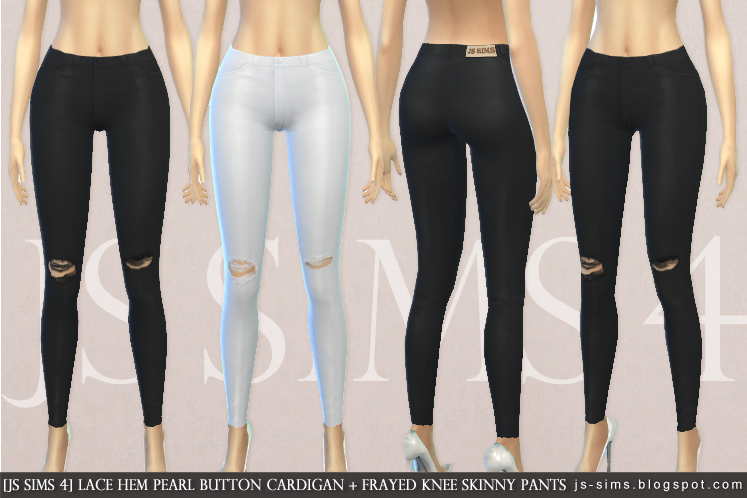 Lace Hem Pearl Button Cardigan + Frayed Knee Skinny Pants by JS Sims 4