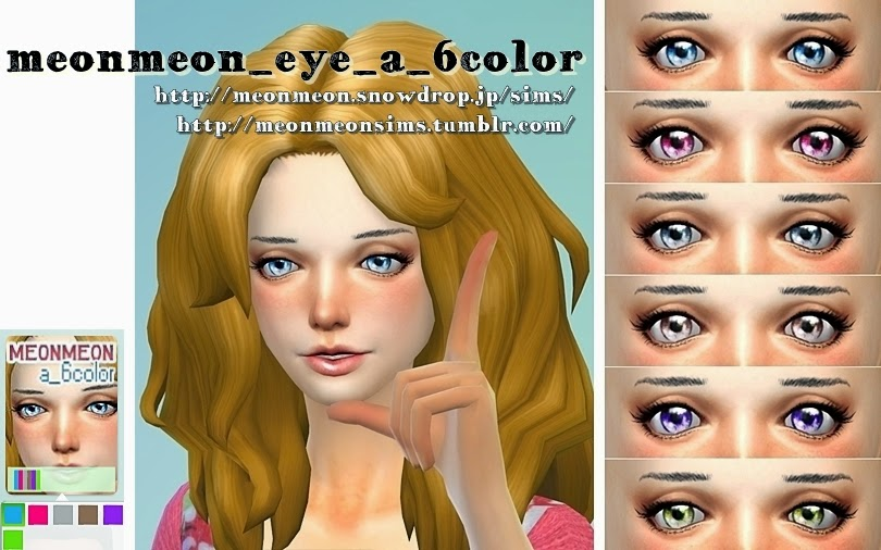 Eyes in 6 Colors by Meonmeonsims