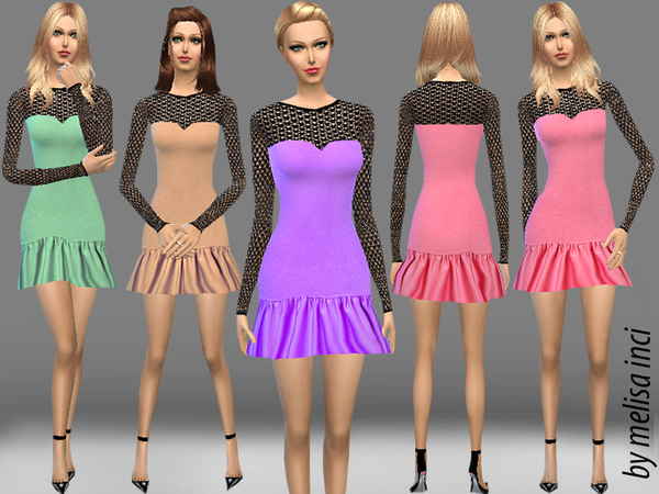 Frilled Strapless Lace Detail Mini Dress by melisa inci