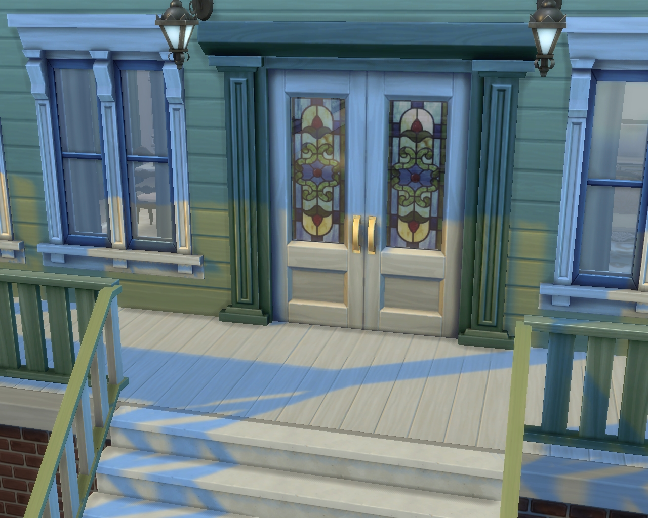 Maxis framed Double Door With Stained Glass by mojo007