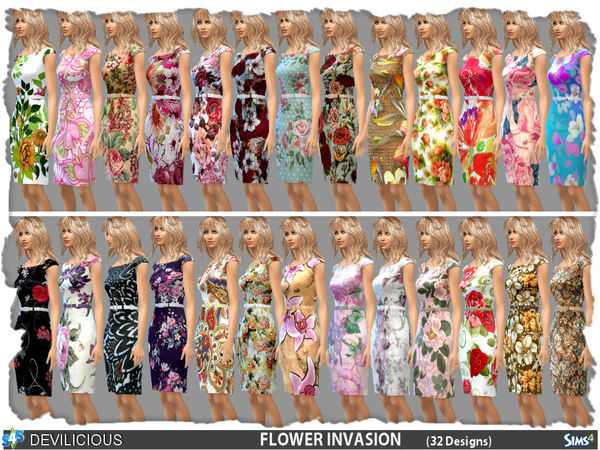 Dress Flower Invasion (32 Designs - 1 File) by Devilicious