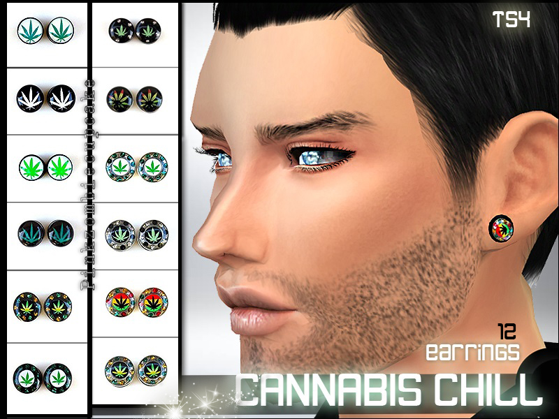 Cannabis Chill Earrings for Males by PinkZombieCupcakes