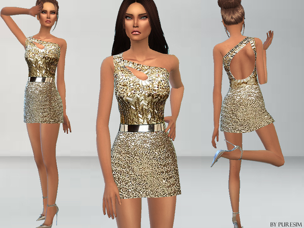 Gold Sequined Dress by Puresim
