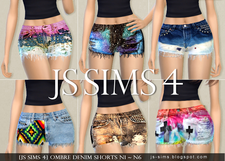 Ombre Jeans Shorts for Teen & Adult Females by JS Sims 4