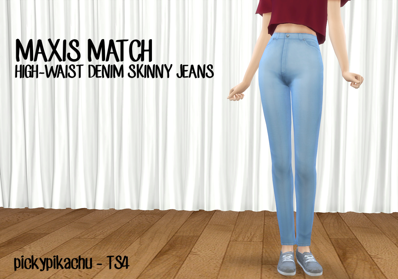 Maxis Match High-Waist Denim Skinny Jeans for Teen - Elder Females by Pickypikachu