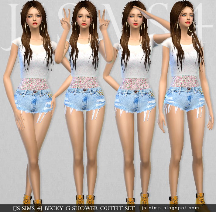 Becky G Shower Outfit Set for Teen & Adult Females by JS Sims 4