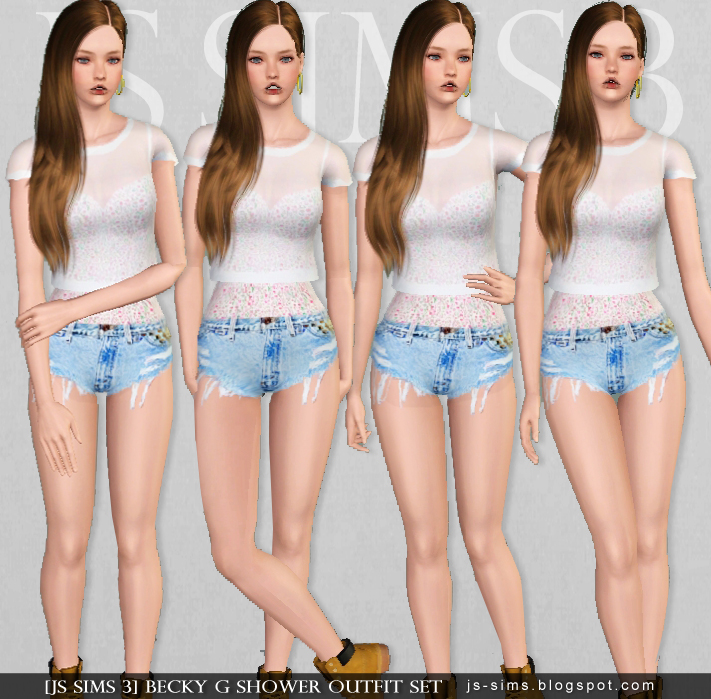 Becky G Shower Outfit Set for Teen & Adult Females by JS Sims 3