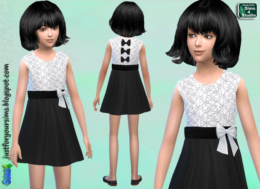 Monochrome Lace Dress for Girls by Just For Your Sims