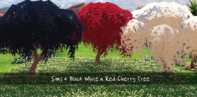 Black White n Red Cherry Trees от Sims4Downloads