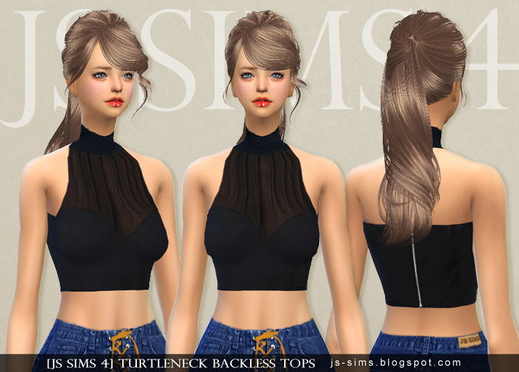 Turtleneck Backless Tops by JS Sims 4