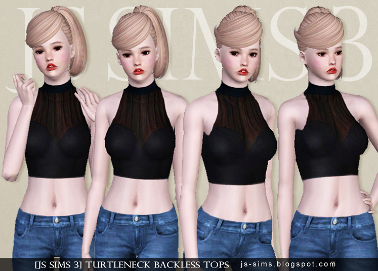Turtleneck Backless Tops by JS Sims