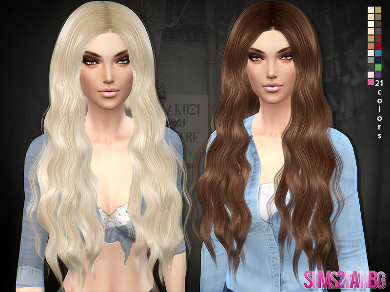 Hair 02 - Long curly  BY sims2fanbg