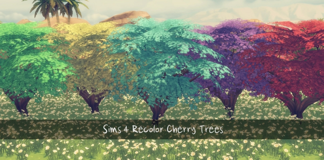 Recolor Cherry Trees от Sims4Downloads