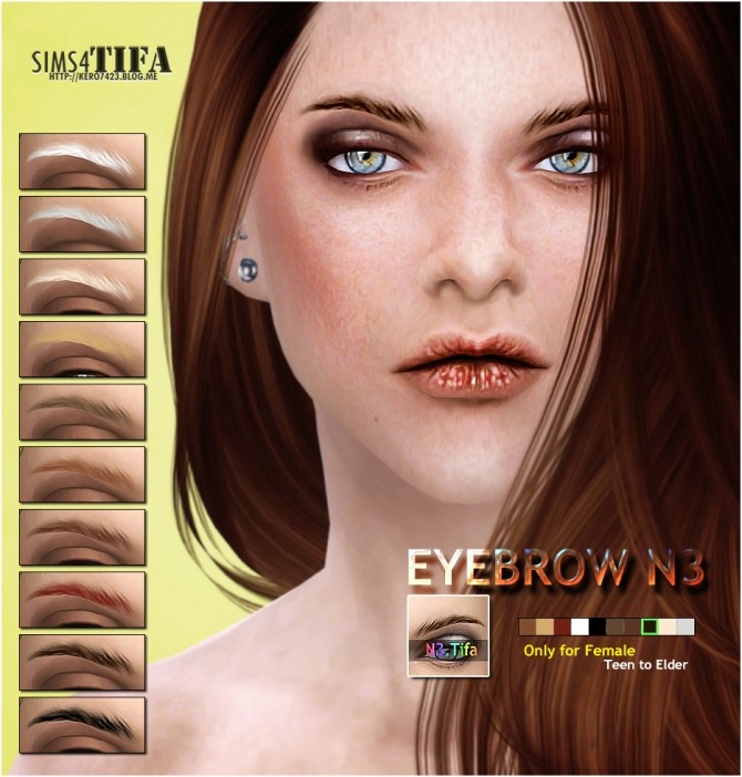 Tifa Sims  Brows / Facial Hair : Eyebrow N3 F