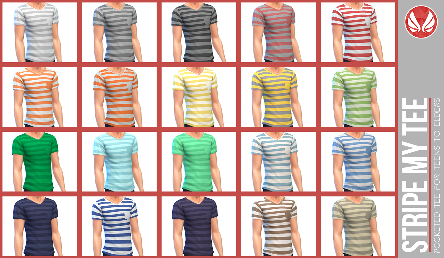 Stripe My Tee Pocketed V-Neck for Teen - Elder Males by Peacemaker ic