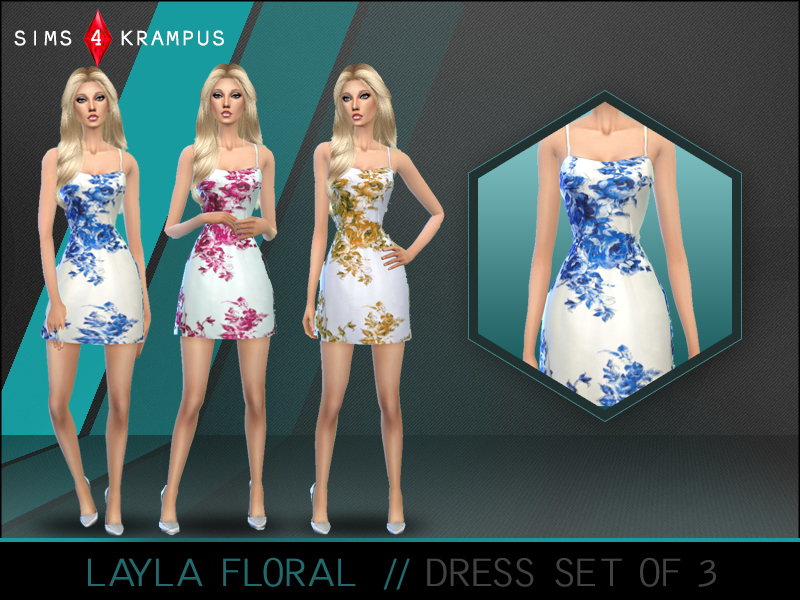 Layla Floral Dresses BY SIms4Krampus