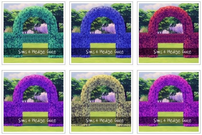 Colorful Hedge Gate by Xrinnas Sims