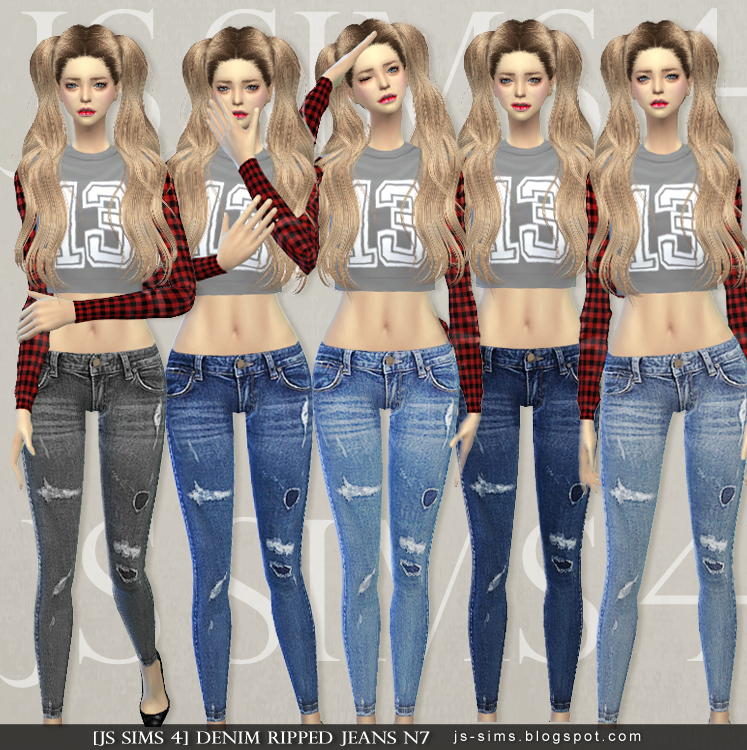 Denim Ripped Jeans N7 by JS Sims 4