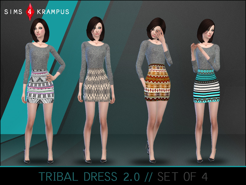 Aztec Sweater Dress set of 4 BY SIms4Krampus