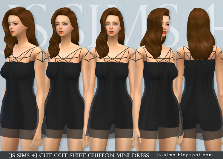 Cut Out Shift Chiffon Mini Dress by JS SIMS 4