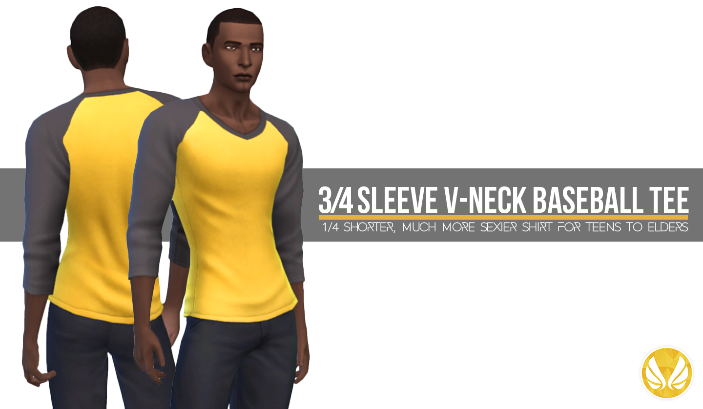 Simsational Designs  Clothing, Male : 3/4 Sleeve V-neck Baseball Tee