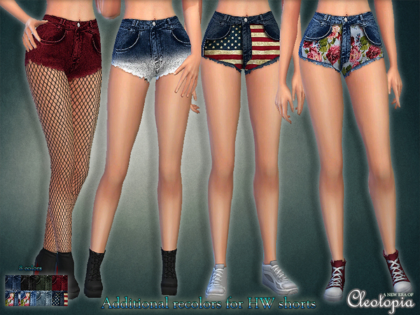 Set35- High waisted Shorts with prints by Cleotopia