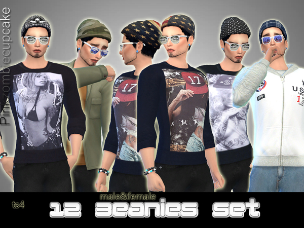 12 Beanies Set by Pinkzombiecupcakes