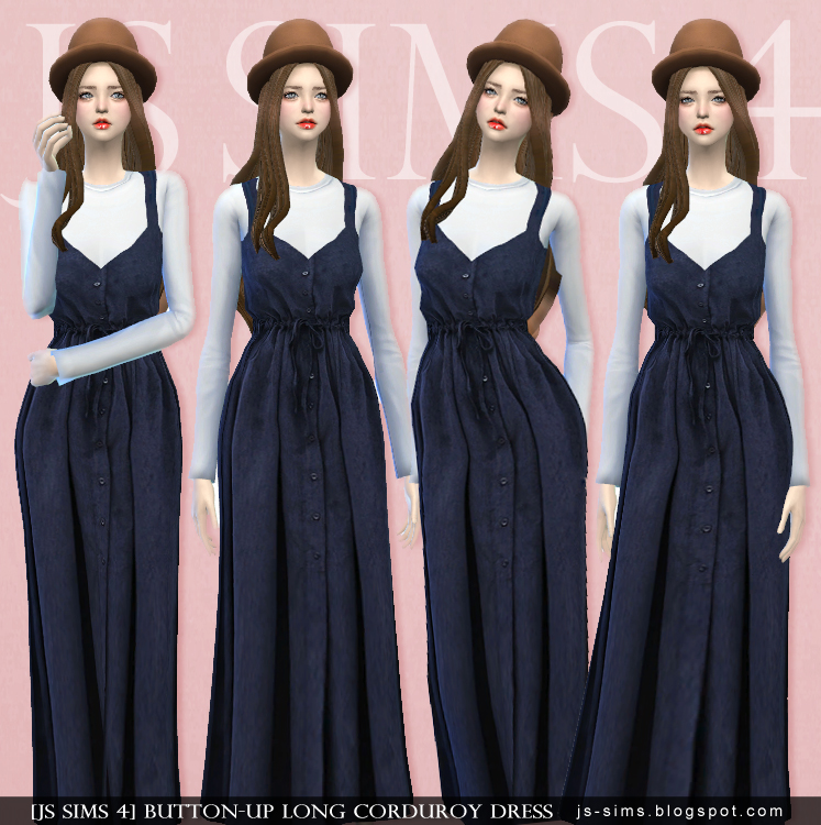 Button-Up Long Corduroy Dress by JS Sims 4