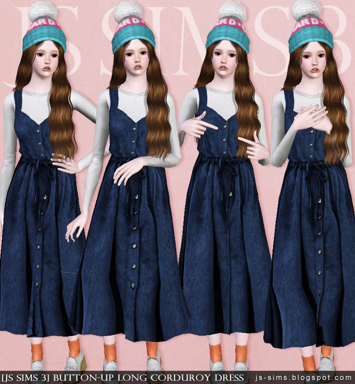Button-Up Long Corduroy Dress by JS Sims 3